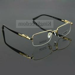 100% Pure Titanium Men's Eyeglass Frames Half Rimless Glasse