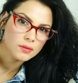 50's Retro Vintage Sexy Cat Eye Black Clear Gradient Frame E