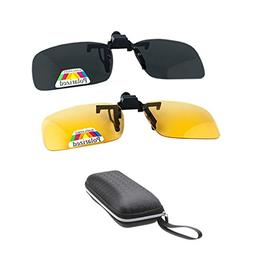 2 Pairs Sunglasses Clip On Flip Up Night Vision Glasses Anti