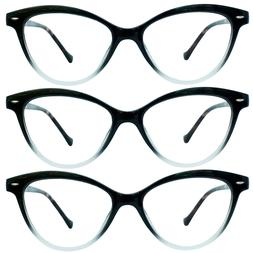 3 Pack Cat Eye Style Black Reading Glasses w/ Spring Hinges