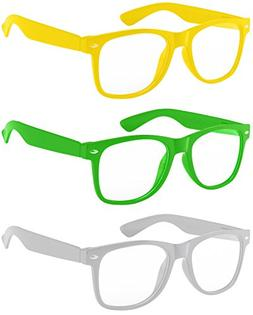 3 pairs kids clear lens glasses protect