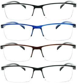 4 Pack Reading Glasses Readers Men Women Square Frame Spring