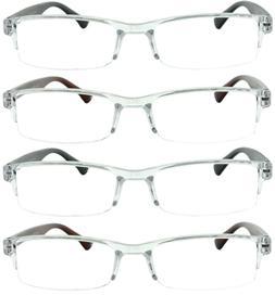 4 Pack Reading Glasses Readers Men Women Semi Rimless Square