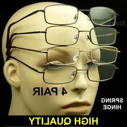Reading glasses men women spring hinge 4 pair temple lens pa