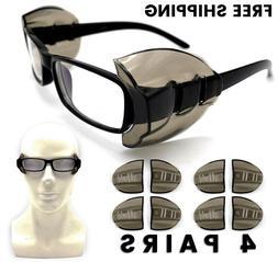 4 Pair Safety Eye Glasses Side Shields DARK Flexible Slip On