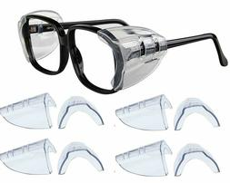 4 Pair Safety Eye Glasses Side Shields Clear Slip Protection