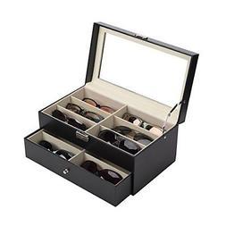 CO-Z Leather Box Eyeglasses Eyewear Organizer Display Storag
