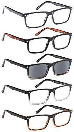GAMMA RAY 5 Pairs Stylish Spring Loaded Readers Reading Glas