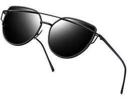 Joopin Women Metal Polarized Cat Eye Sunglasses Flat Lens Co