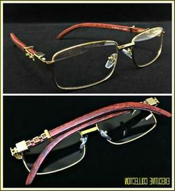 Mens Classy Elegant Retro Style Clear Lens EYE GLASSES Gold