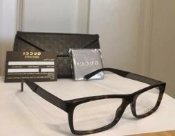 New GUCCI Men's Eyeglasses Frames GG1054 Havana W/Web Stripe