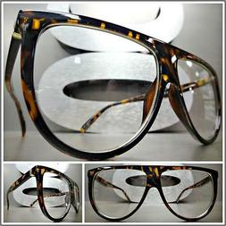 OVERSIZE VINTAGE RETRO Style Clear Lens EYE GLASSES Large To