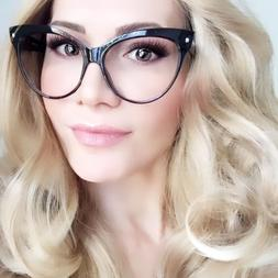 Oversized Large Cat Eye BLACK Hot Teacher Celebrity Glasses