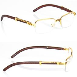 retro vintage clear lens gold wood frame