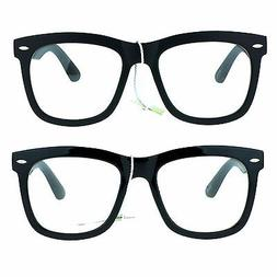 All Black Large Hipster Oversized Nerdy Horn Rim Retro Geek