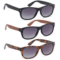 GAMMA RAY 3 Pairs Bifocal Gradient Sunglasses Readers Readin