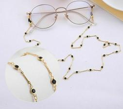 Black Round Crystal Glasses Chain Eyeglass Chains for Men Wo