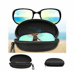 Black Zipper Eye Glasses Sunglasses Hard Case Clamshell Eyeg