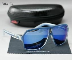 Luxury Blue Men's Sunglasses Ruthenium Pilot Gradient Lens E