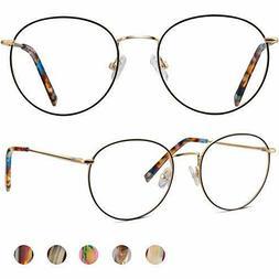 Blue Light Blocking Glasses ,Round Retro Metal Frames Comput