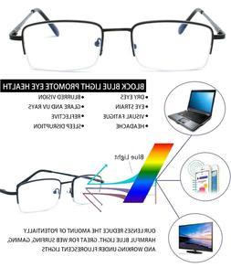 Blue Light Blocking Half Frame Computer Reading Glasses Anti