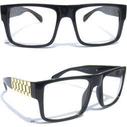 bold frame clear lens eye glasses metal