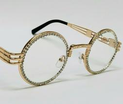 Diamond Buffs Gold Metal Round Migos Rap Hip-Hop Eye Glasses