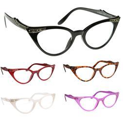 Cat Eye Clear Lens Glasses Rhinestone 50s Vintage Women Retr