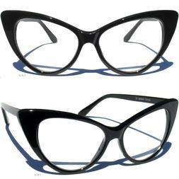 CAT EYE GLASSES Black Frame Eyewear Clear Lens Women's Rocka
