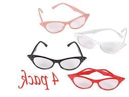 4E's Novelty Cat Eye Glasses with Rhinestones - 50's 60's Re