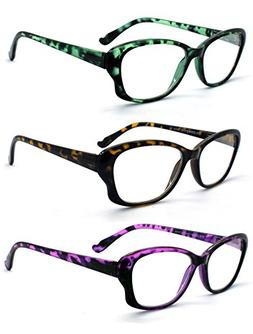 Eye-Zoom 3 Pack Cat Eye Tortoise Color Frame Reading Glasses
