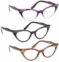 GAMMA RAY 3pk Womens Chic Cat Eye Vintage Reading Glasses -