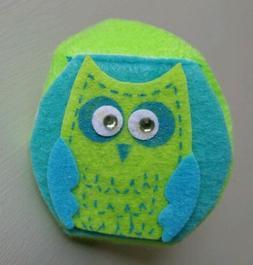 Childrens Kids Eyeglass Lazy Eye Patch Cute Green Owl Right