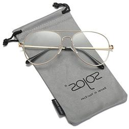 SOJOS Classic Aviator Clear Lens Eyeglasses Eyewear Metal Fr