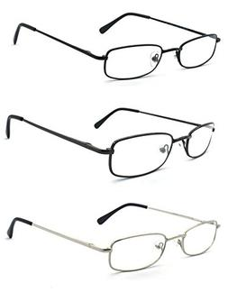 EYE-ZOOM 3 Pairs Classic Spring Hinged Rectangular Reading G