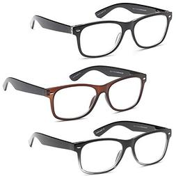 GAMMA RAY 3 Pairs Classic Spring Loaded Readers Reading Glas
