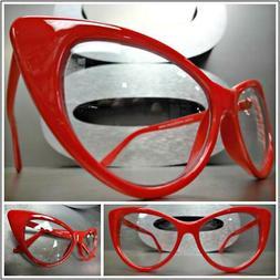CLASSIC VINTAGE RETRO 60s CAT EYE Style Clear Lens EYE GLASS