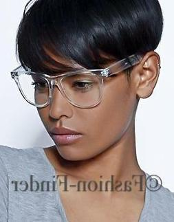 Classic White Crystal Clear Transparent Lens Thin Frame Big