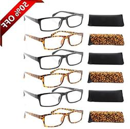 Fiore® 6 Pack Clear Spring Hinge Reading Glasses 3 Pair Bla