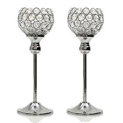 VINCIGANT Crystal Hurricane Candle Holder Silver Candlestick