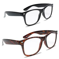 2 Pairs Deluxe Wayfarer Style Reading Glasses - Comfortable