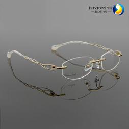 Designer Fashion Women's Rimless Myopia Eyeglass Frames Opti