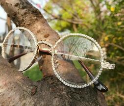 Diamond Bling Gold Metal Round Migos Raper Hip-Hop Eye Glass