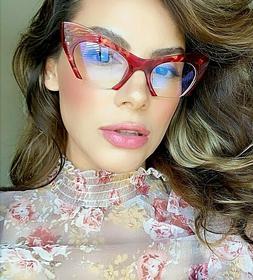 "Eyeglasses Cat Eye Demi ""Rasoir"" Glasses razor cut off lens"