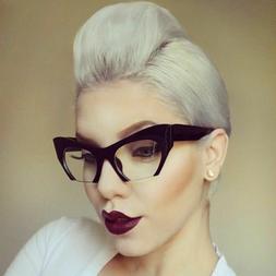 "Eyeglasses Cat Eye Demi ""Razor"" Glasses rasoir cut off lense"