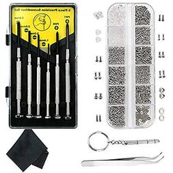 Eyeglasses Repair Kit-1100Pcs Small Screws and 10 Nose Pads