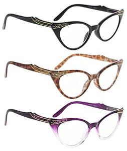 Eyekepper Womens 3 Pairs Reading Glasses Ladies' Vintage Cat