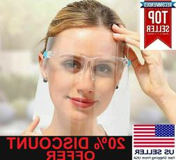 Face Shield Mask with Eye Glasses Clear Guard Protection for