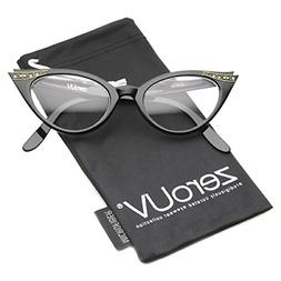 zeroUV - Vintage Cateyes 80s Inspired Fashion Clear Lens Cat