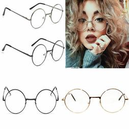 Fashion Round Retro Metal Frame Clear Lens Eye Glasses Large